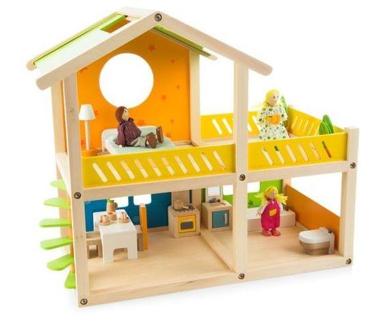 Hape - Drewniany domek dla lalek z wyposażeniem Happy Villa + Światło