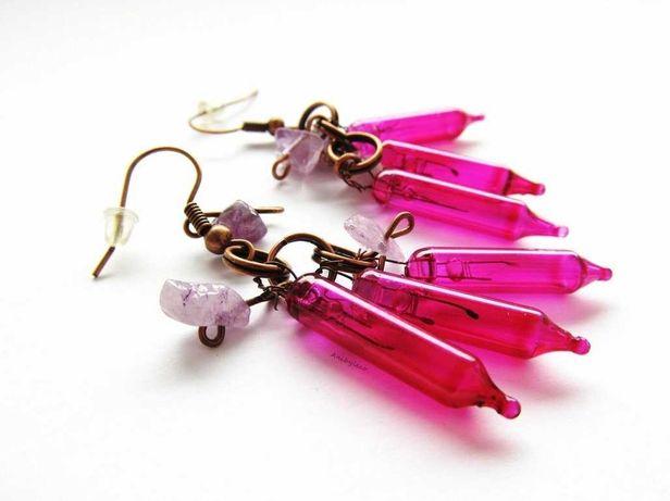 Kolczyki różowe żarówki Anibyleco