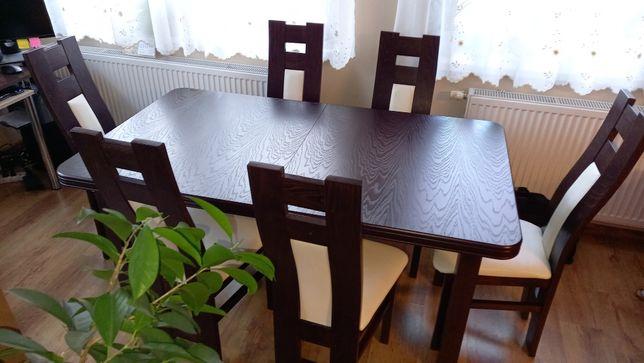 Duży rozkładany stół 90 x 160/180 + 6 krzeseł