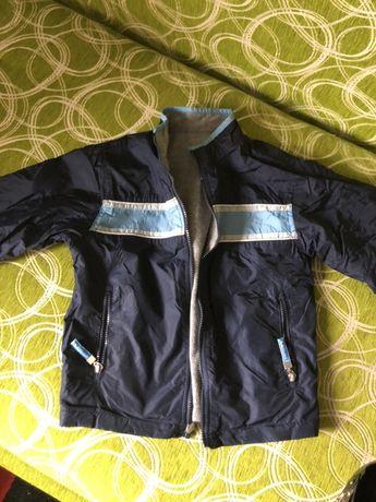 Komplet kurtka wiosenna dwustronna+ ciepła bluza r.110/116