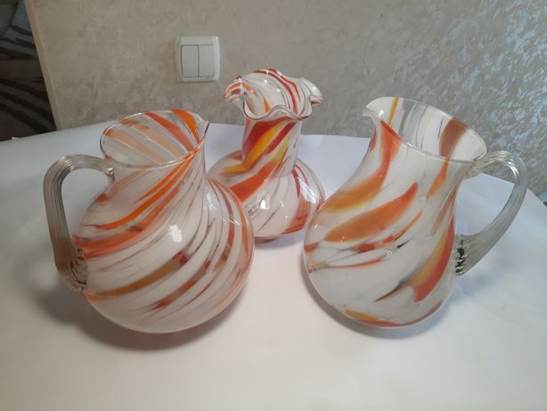 Советские изделия из цветного стекла  ваза кувшин кувшинчик