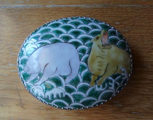 Caixa Porcelana Chinesa e Casquinha com Espelho