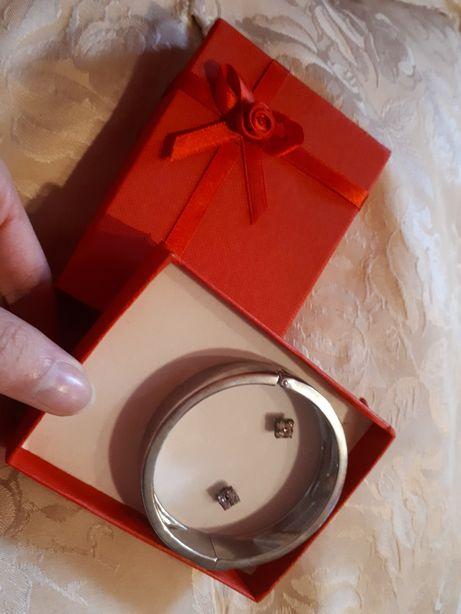 Biżuteria zestaw kolczyki i bransoletka