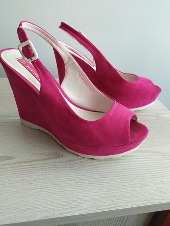 Sandały damskie na koturnie różowe rozmiar 39