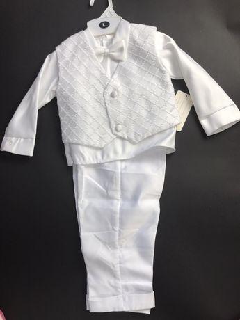 Strój na chrzest dla chłopca koszula i kamizelka + gratis spodnie