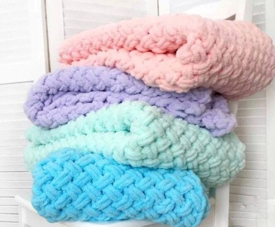 Плюшеві пледи ручної роботи Alize puffy(ковдра,подарунок ,одеяло)