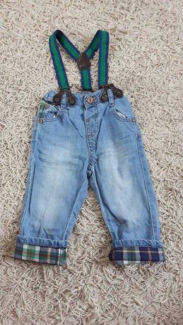 SPODNIE chłopięce jeansowe z szelkami 9-12m 74/80 wywijane nogawki
