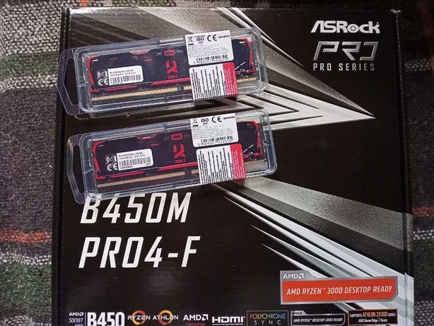 Мат плата ASRock B450M PRO4-F+16 Gb DDR4 3200Мгц