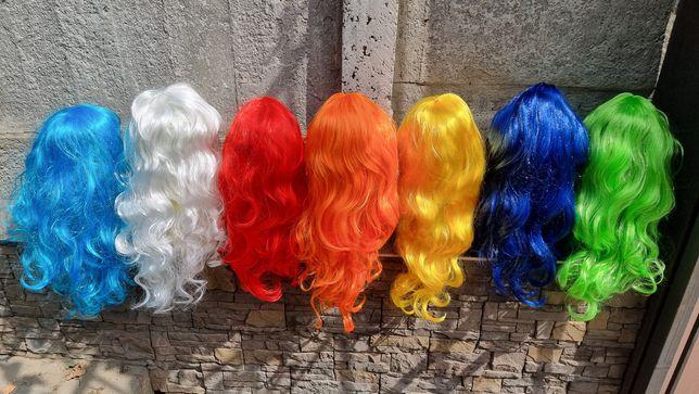 Парик длинный карнавальные парики для образа красный синий зелёный беж