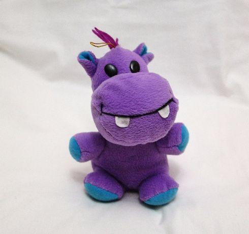 Детская игрушка мягкая смешной Бегемотик сиреневый плюшевый