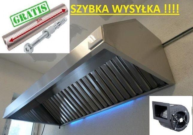 Okap Gastronomiczny 2500x700x400 MEGATurbina FILTRY Rura 3m Wysyłka