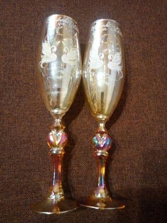 Свадебные бокалы келихи Совет да Любовь Лебеди золотистые как новые