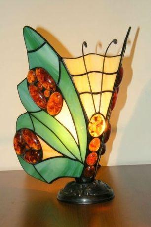 lampa witrażowa Tiffany - bursztyn, motyl
