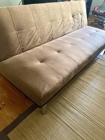 Sofá-cama 3 lugares castanho