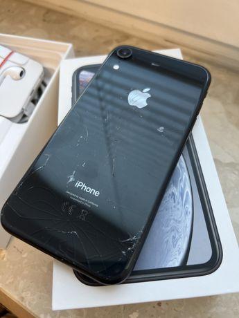 iPhone XR 128gb czarny, komplet + szklo i etui Spigen
