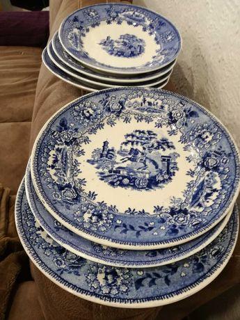 7 Pratos Loiça Sacavém Motivo Estátua Cor Azul (24 Cm) -Preço Conjunto