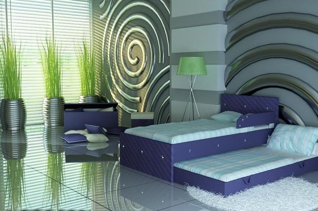 Łóżko piętrowe dla dziecka z dwoma materacami,tapicerka ekoskóra,Raty