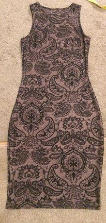 Sukienka bandażowa czarno beżowa