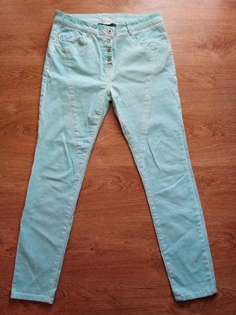 Spodnie jeansowe miętowe rozm 40