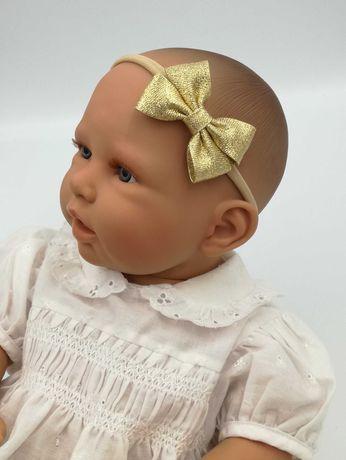 Opaska na głowę kokarda złota niemowlak dziecko