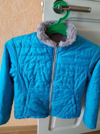 Бирюзовая,двухсторонняя курточка для девочки-10-11лет