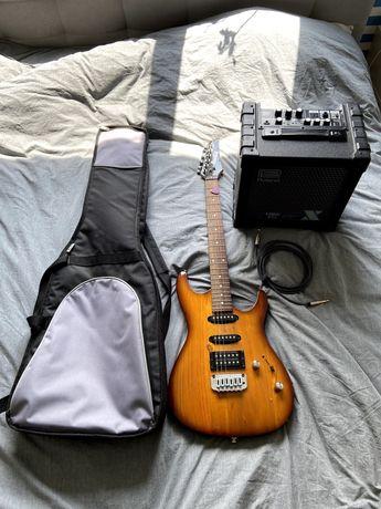 Gitara elektryczna Ibanez, wzmacniacz Roland, pokrowiec