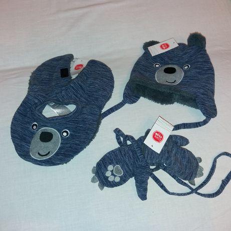 nowy komplet czapka szalik rękawiczki coolclub 48-50 polar miś