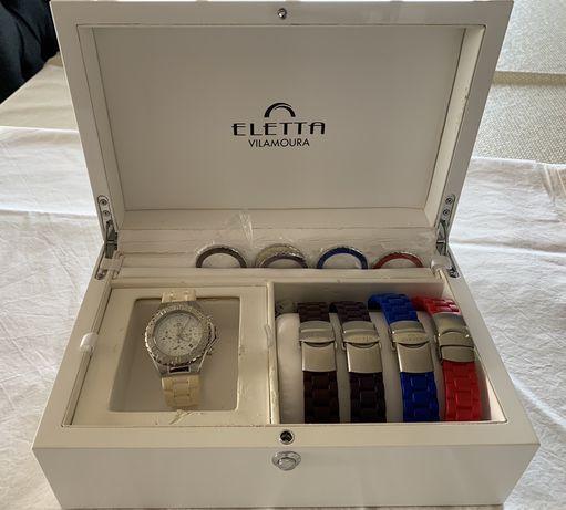 Relogio Eletta con 5 pulseiras/5 corrs