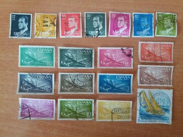 Lote de 19 selos antigos de Espanha