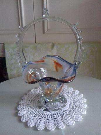Koszyk szklany barwiony Huta Szkła Ząbkowice
