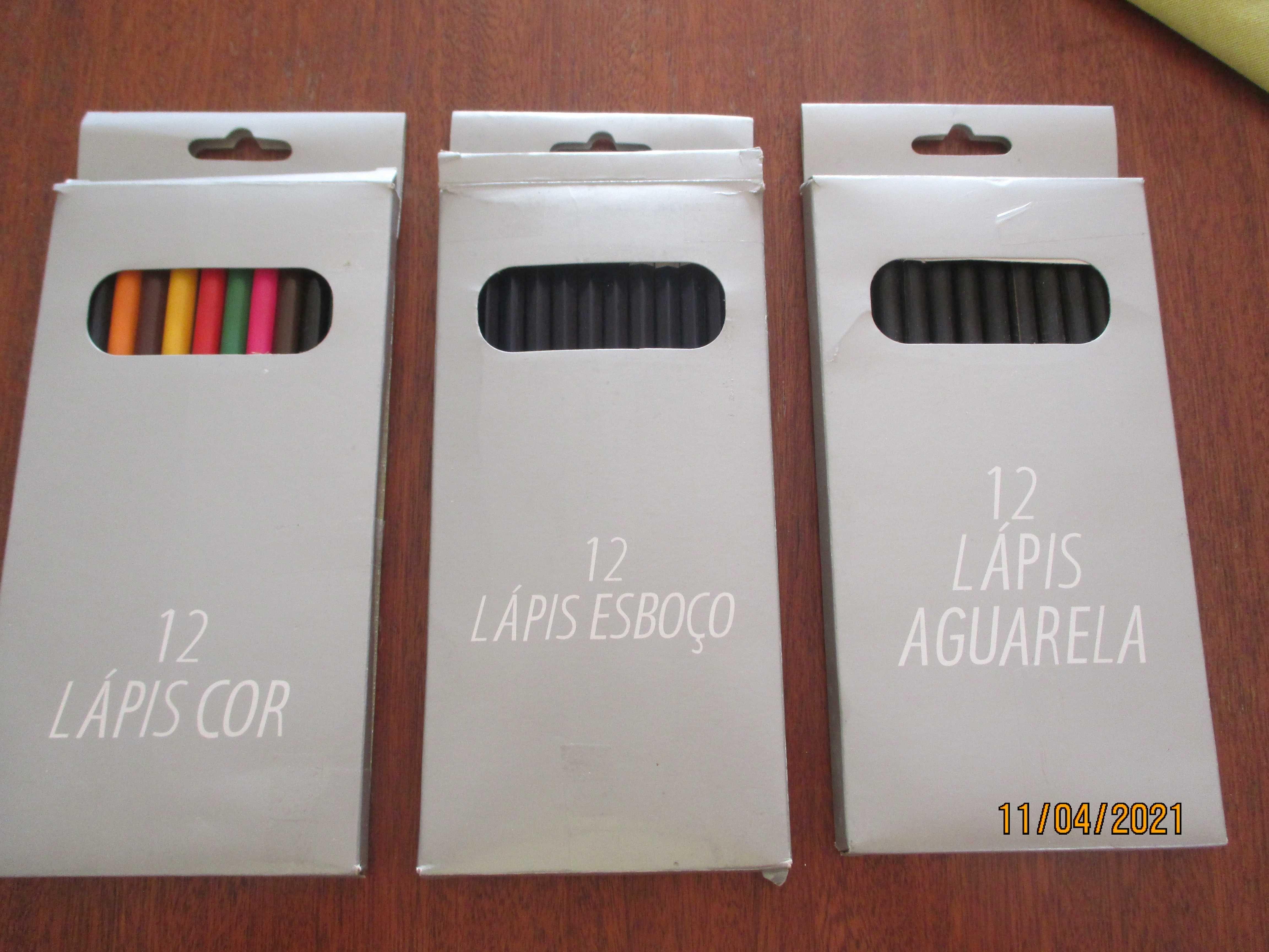 3 cx com 12 lápis cada  - Aguarela, esboço e de cores