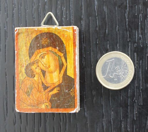 Antigo mini-oratório ortodoxo russo em madeira (arte sacra anos 40)