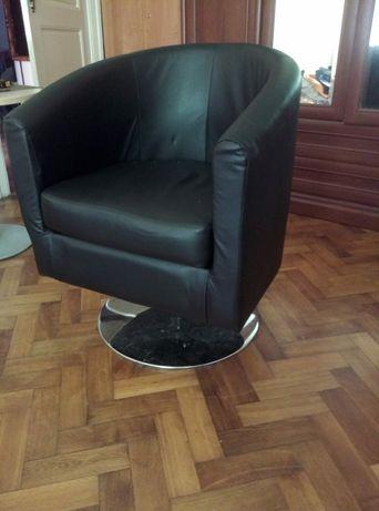 Nowy czarny fotel z Eko skóry