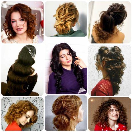 Причёски вечерние/свадебные, укладки, локоны, плетение кос