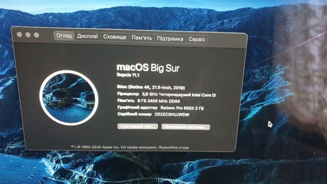 Apple iMac 21.5 4k Retina 2019 (3.6 GHz i3/8 Gb Ram/1 Tb/2 Gb Video)