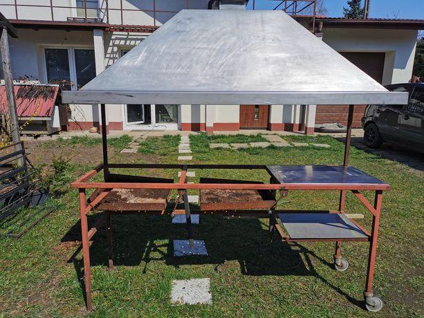 Nierdzewny grill ogrodowy 200 cm, okap gastronomiczny
