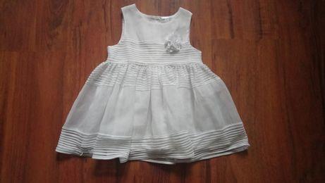 Biała sukienka wizytowa H&M rozm. 74 (6-9mies.)