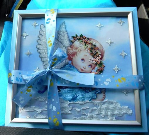 Вышивка картина на заказ ангелочек ангел крестины