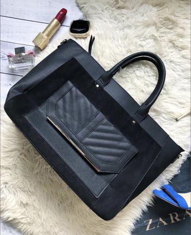 Большая шикарная сумка чемодан замш из теснёной кожи Primark