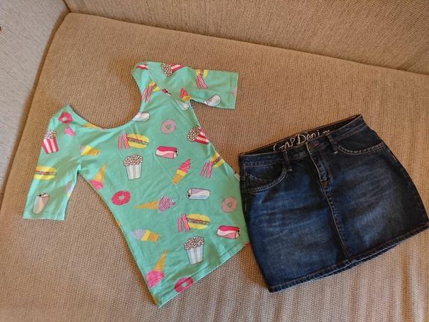Комплект футболка мороженое и юбка джинсовая