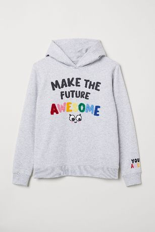 H&M Szara bluza z kapturem Kolorowe napisy 122 128