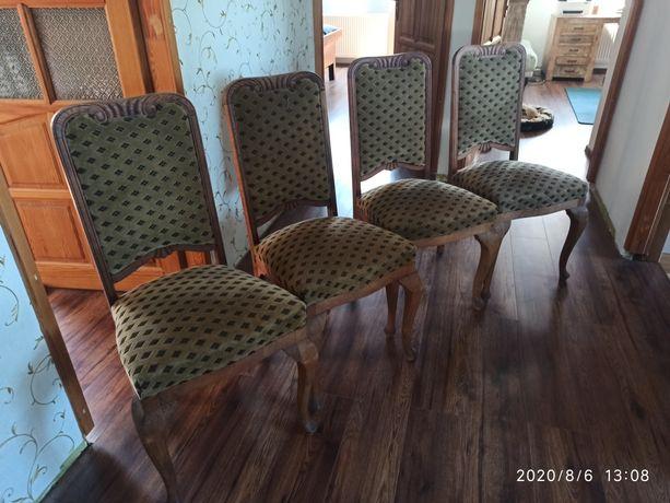 Krzesła antyki 4 sztuki sprężyny, trawa morska