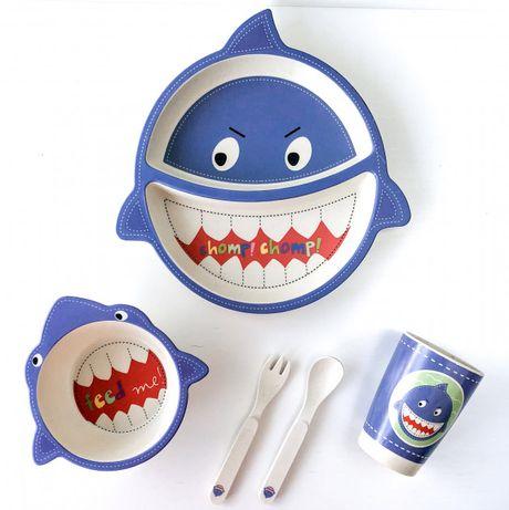 Посуда бамбуковая для детей Акула набор из 5 предметов