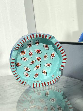 Miętowa niebieska gliniana ceramiczna popielniczka handmade
