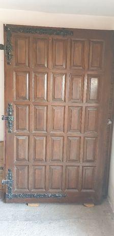 Drzwi dębowe garażowe - stan idealny