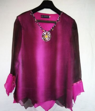 Шифоновая блуза, размер 52-54, длинный рукав, НОВАЯ! Богато украшена
