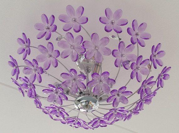 Lampa wisząca z abażurem pełnym kwiatów + 6x żarówka LED