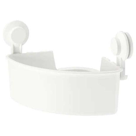 Полка на присосках IKEA угловая пластиковая белая, стелаж настенный