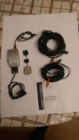 адаптер переходник. Подключи ПК к ТВ + 5 метров 2 провода и переходн.