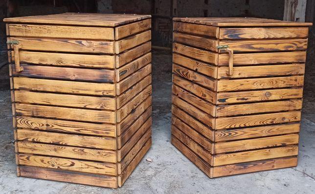 Drewniana obudowa kosza na śmieci